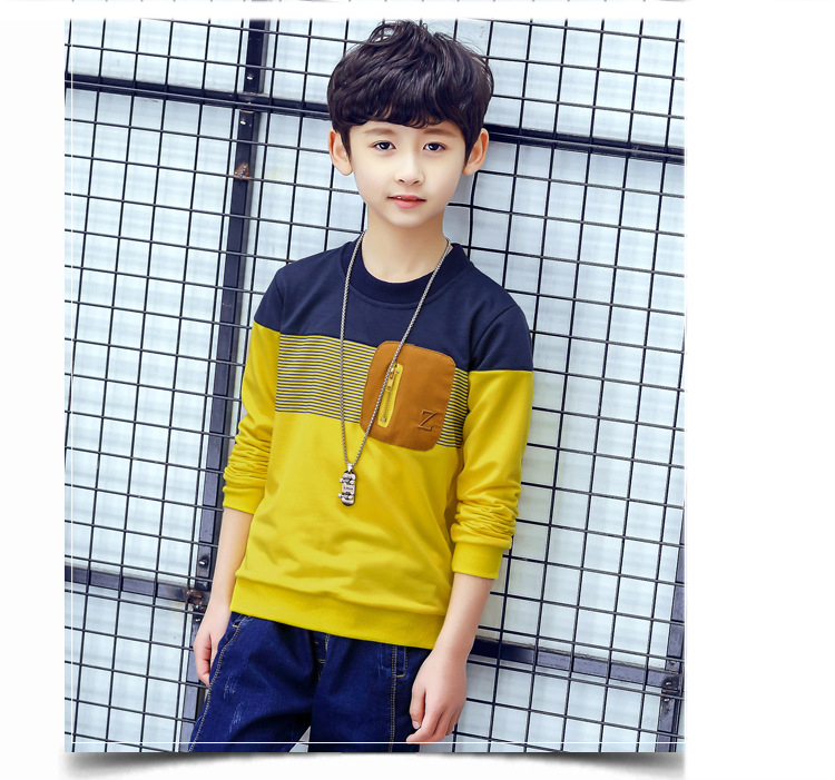 ... Teenage Baby Boys Cotton Long Sleeve T-Shirts For Kids Patchwork Tops Clothing  Children Spring 32f1062a8190