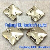8mm 10mm 12mm 14mm 16mm 22mm Branco Strass Quadrado De Vidro De Cristal Costurar Em Pedra botões de Strass Flatback Com 2 Furos