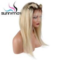 Sunnymay Ombre Blonde Kant Voor Vrouwen Middendeel Lange Lace Pruiken 150% Dichtheid Straight Menselijk Haar Pruiken Met Donkere Wortels