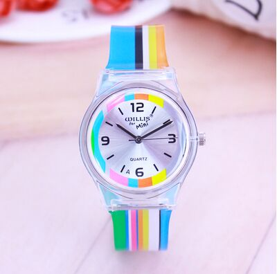 2018 Rainbow Stripe Women Willis MiNi Watches Resin Fashion Table Waterproof Ladies Table Rainbows Watches