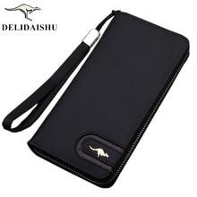 Ny känd märke känguru män plånbok dragkedja lång telefon koppling väska mode Nubuck läder handväska koppling plånbok gratis frakt
