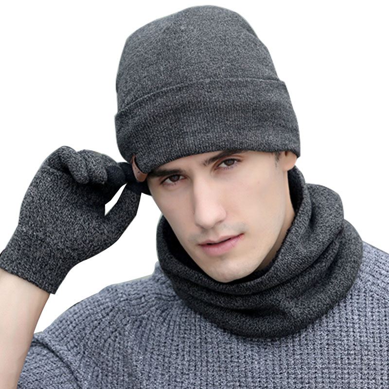 Scarf Gloves Hat Set Women Men Winter Scarf Hat Set Winter Hat Scarf And Glove Set Smart Touch Screen Texting Gloves Set