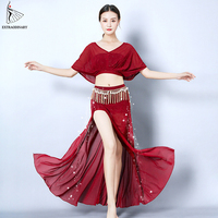 Belly Dance Costumes Set Top Skirt Practice Clothes Women Sexy Fashion Bellydance Top Split Skirts Professional 4 Colour
