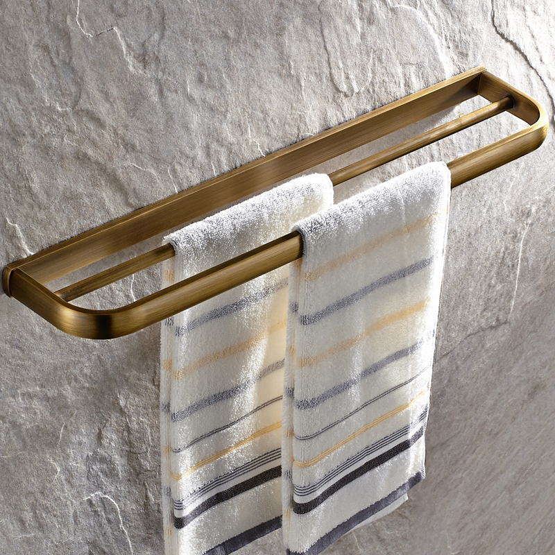 AUSWIND Antique Solid Brass Towel Bar European Luxury Brushed Double Layer Wall Mounted Towel Rack Bathroom Accessories antique brushed carved towel bar luxury solid brass double layer wall mounted towel rack towel holder bathroom accessories lt04