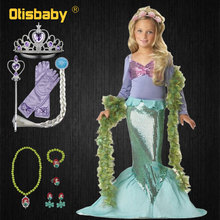 Fairy Fancy Summer Little Mermaid Princess Dress Girl Costume Children Floral Girls Baby Kids Party Birthday Agent