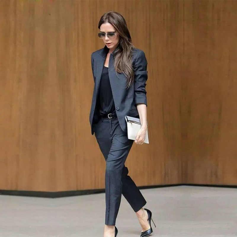 9e8f78dc5ed На заказ темно-серые женские деловые костюмы женские офисные униформы женские  брючные костюмы Формальные женские