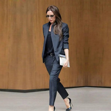цена Custom Dark Gray Womens Business Suits Female Office Uniform Ladies Trouser Suits Formal Womens Tuxedo 2 Piece Set Blazer в интернет-магазинах