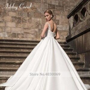 Image 5 - Ashley carol vestido de casamento de cetim elegante 2020 a linha fora do ombro rendas acima da noiva querida apliques vestidos de noiva do vintage