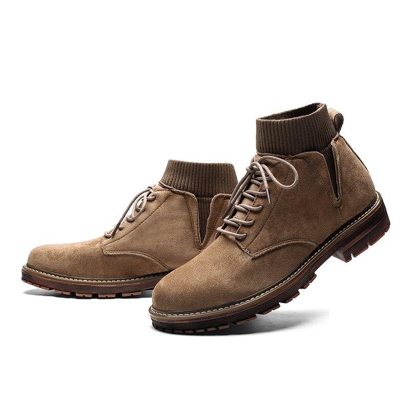 brown Tricot Respirant Portable Bottes Flock De Mocassins Mâle D'hiver Semelle Khaki black Hommes Chaussures Haute Sneakers SaZxwgqH