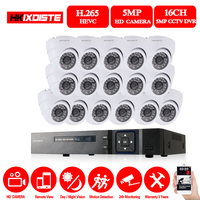h.265 16CH CCTV 5MP DVR Kit CCTV Camera System 16PCS 5.0MP HD Security Camera Indoor P2P Video Surveillance System Set