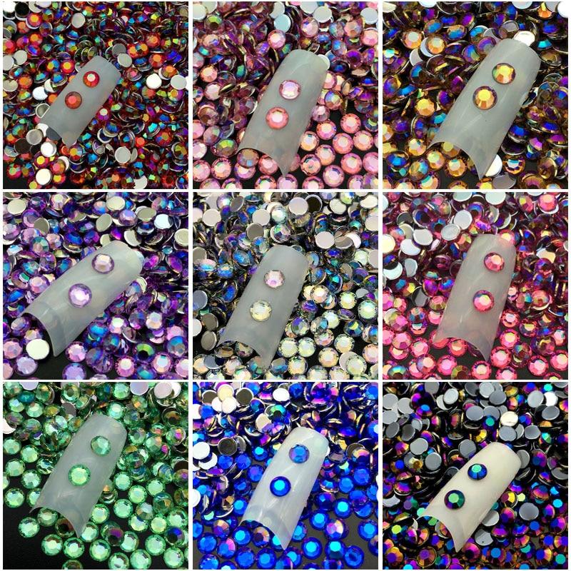 60 unidades/pacote 5 MILÍMETROS DIY 3D Placa de Cristal de Acrílico Da Arte do Prego Rodada Glitter Pedrinhas UV Gel Polish Dicas Etiqueta Gem manicure