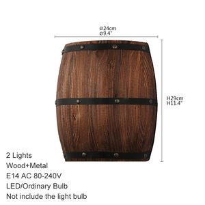 Image 2 - American vintage wall lamps country wine barrel modern wall lights LED E27 for bedroom living room restaurant kitchen aisle bar