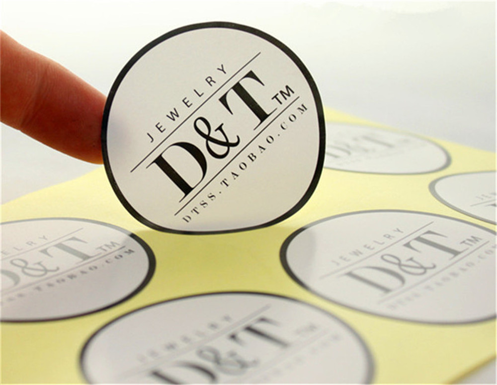 Custom brand logo printed wedding adhesive stickers labels pvc vinyl paper transparent clear adhesive die cut stickers in garment labels from home garden