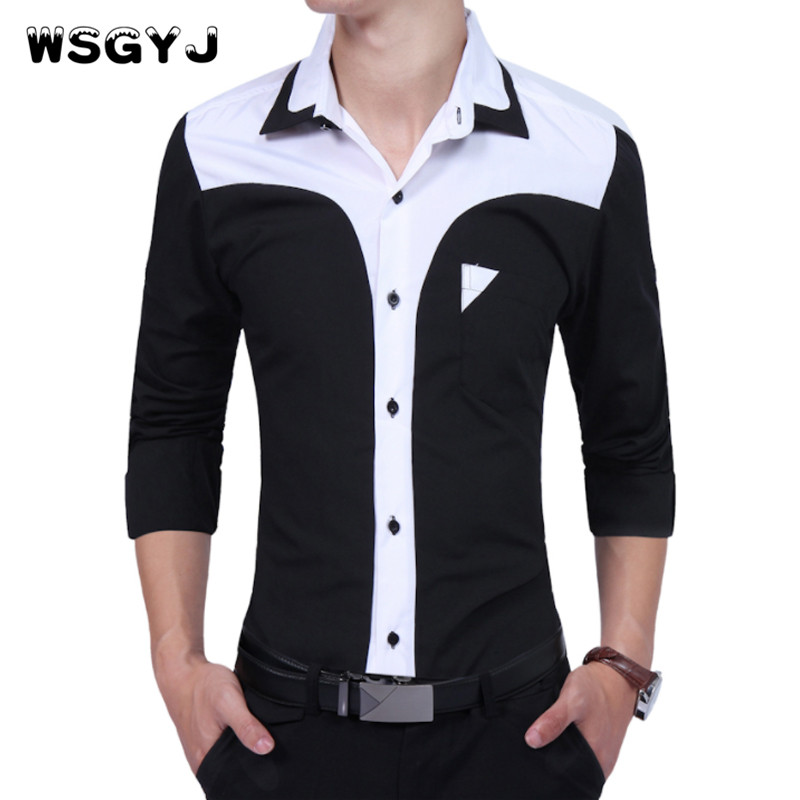 WSGYJ Brand 2018 Fashion Male Shirt Long-Sleeves Tops Oversize Business Suits Hit Colors Shirt Mens Dress Shirts Slim Men Shirt