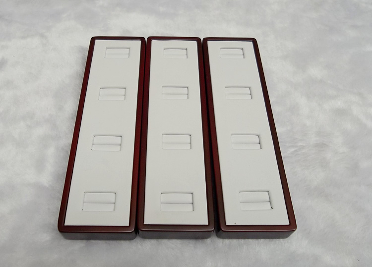 FREE SHIPPING Wooden Jewellery Display Tray Jewelry Packaging Ring Display box White PU Storage Case
