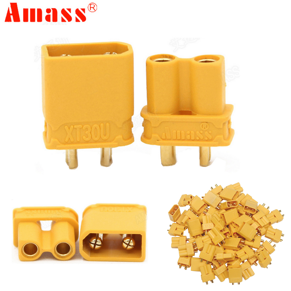 100pcs/lot  Amass XT30U 2mm Antiskid Plug Connector Male+Female 2mm Golden Connector / Plug  Upgrade XT30 ( 50 Pair )