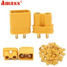 Conector de clavija antideslizante Amass XT30U, 2mm, macho + hembra, 2mm, dorado, actualización de enchufe XT30, lote de 100 unidades