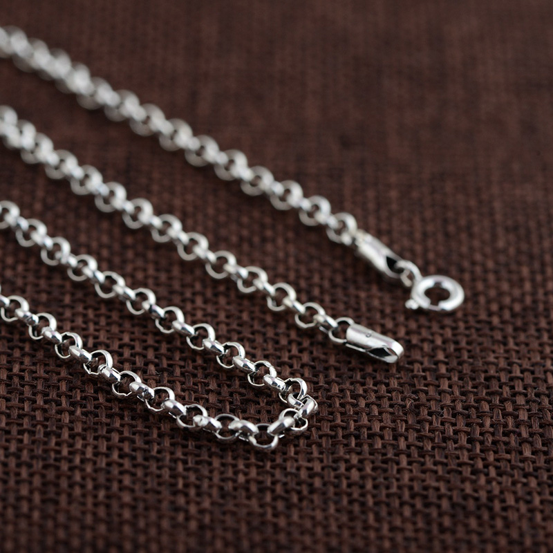 FNJ 100% 925 Silver Link Chain for Women Men Accessorice S925 Thai 3MM Solid Silver Jewelry Making Necklaces