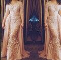 Vestido Nuevo Estilo Gasa Del Cordón Appliqued Champagne Arabia Saudita Myriam Manga Larga Vestidos de Noche Vestidos de La Celebridad