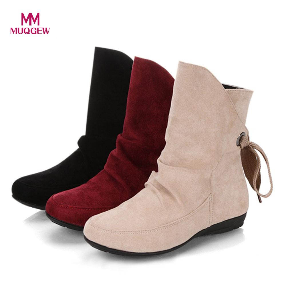 b14a7e6fd54b Women Snow Boots Ladies Winter Warm Casual Shoes Lace Up Buckle Roman Ankle Short  Boots High