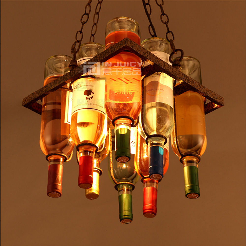 Vintage Retro E27 LED Cafe Loft Bar Iron Wine Bottle Lamp Chandelier Ceiling Droplight Store Cafe Bar Loft Corridor Decor Gift loft edison vintage retro cystal glass black iron light ceiling lamp cafe dining bar hotel club coffe shop store restaurant