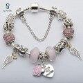 New Fashion Silver Patead Love Heart Charm  Brancelets & Bangles DIY Jewelry for European Women Original Pulseira Gift