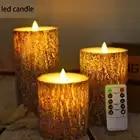 3 pcs luce della candela del LED Alimentato A Batteria Lampada led candele con tremolanti fiamma con telecomando di controllo di cera di candela led per di nozze Deco - 3