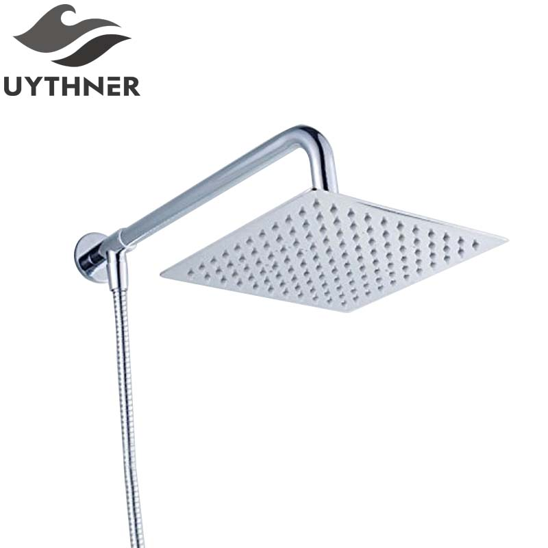 Uythner Newly Stainless Steel Chrome Bathroom Top Shower Head 8 Shower Sprayer With Shower Arm Shower Hose Wall Mount