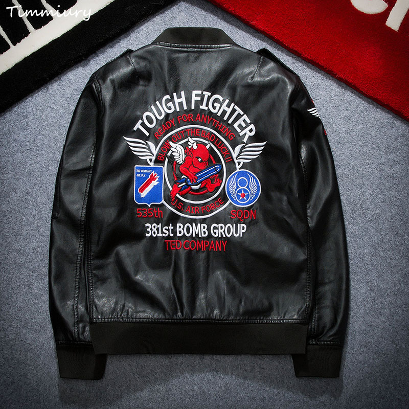 Timmiury 2017 Spring Mens Leather Jackets Bomber PU Black Jackets Top Embroidery Motorcycle Coat Plus Size 3XL