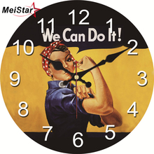MEISTAR Shabby Chic Struggling Young Wall Clock Silent Living Study Room Home Decor Art Watch Large Vintage
