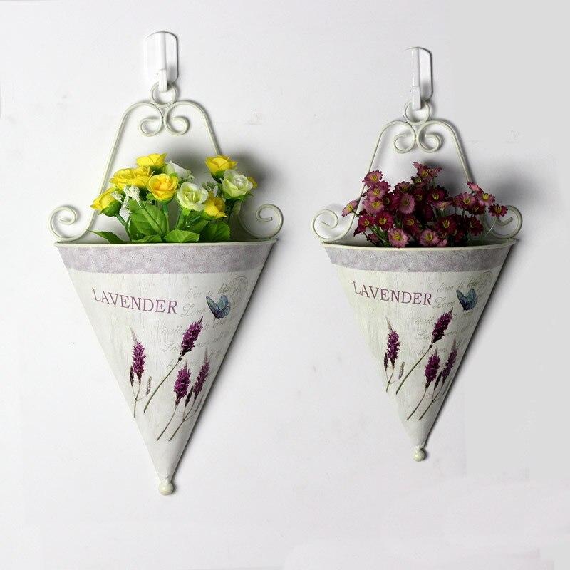 2ks / hodně Pastorační styl Kovové železo Lavender vzor Závěsné květinové umění Nástěnné závěsy Květináče Koberečky