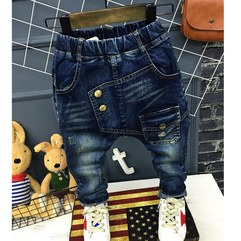 Boys Pants Jeans Letter 2019 Fashion Boys Jeans for Spring Fall Children's Denim Trousers Haren Kids Dark Blue Designed Pants(China)