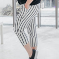 Summer Style Striped Pants Casual White Slim Women Pants Capris Plus Size 3XL Girls Trousers TY028
