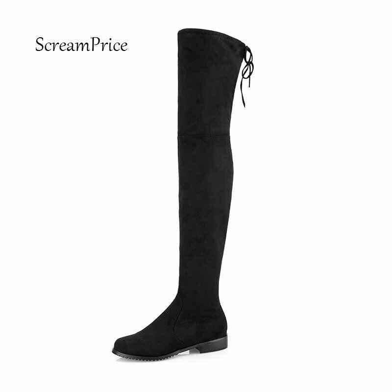 954abeae30e4 ... Высокие сапоги на плоской подошве Для женщин Ботфорты удобные  осенне-зимние искусственная ботинки из замши ...