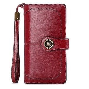 Image 1 - Fashion Women Clutch New Wallet Cow Leather Female Long Wallet Women Zipper Purse Strap Coin Purse For Iphone 7