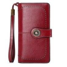 Moda feminina embreagem nova carteira de couro de vaca feminina longa carteira feminina zíper bolsa cinta moeda para iphone 7