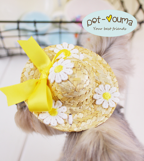 better in stock latest fashion US $1.69 |Princess Pet Hat Dog Adorable Cat Straw Hat Little Small Animal  Breeds Grooming Product For Chihuahua Yorkshire Shop Wholesale-in Dog Caps  ...