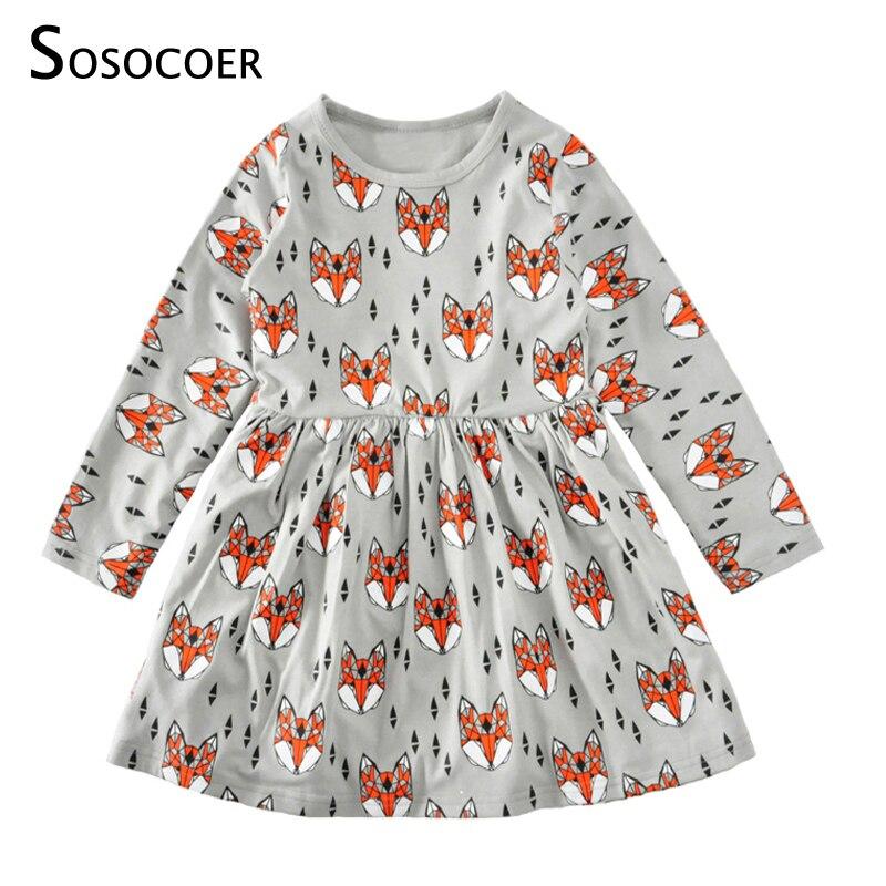 SOSOCOER платья для маленьких девочек с героями мультфильмов детское платье Детская одежда Демисезонный Рождество 2018 новые милые животные пла... ...