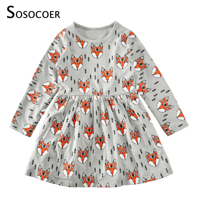 SOSOCOER Toddler Girls Dresses Cartoon Baby Dress Kids Clothes Spring Autumn Christmas 2017 New Cute Animal Girl Dress Clothing