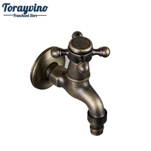Bathroom Wall Mounted Washing Machine Faucets Antique Brass Single Cold Wall Mounted Faucet Wash Basin Sink Tap Faucet