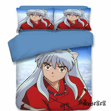 Mxdfafa Japanese Anime InuYasha Duvet Cover Set Bedding Set Cotton Comforter Bed Set Include 1 Duvet Cover and 2 Pillow case 150 200cm kids blue duvet cover without comforter send 2 pillow case wave striped pattern 2016 hot selling free shipping