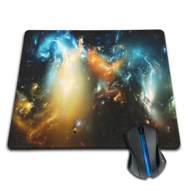 Babaite Pattern Abstract Artworks Colorful Galaxy Fire Blue Cold Cool Customized Mouse Pad Rubber Non-slip Mouse Mat Pad