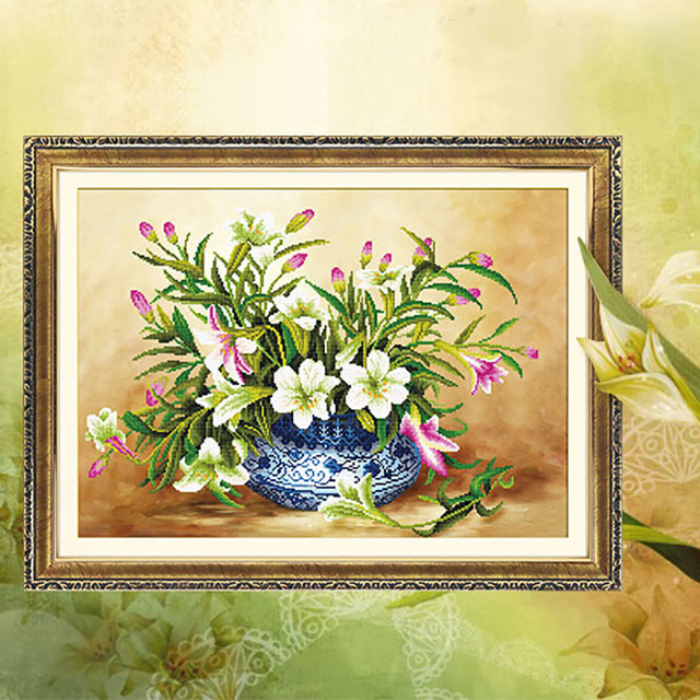 Diy 5d White Lily Vase Diamond Painting Embroidery Home Decoration