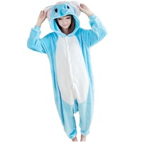 Blue Elephant Onesie Adult Unisex Cosplay Costume Flannel Animal Pajamas All In One Party Sleepwear Cartoon