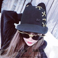 Double black M standards, wool hat wide-brim ears baseball cap cutting lacing individuality female hat