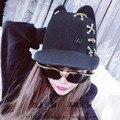 Duplo preto M padrões, ouvidos boné de beisebol chapéu de lã grande-borda de corte lacing individualidade chapéu feminino