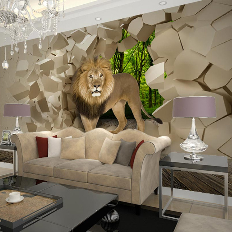 3d stereo lion broken wall mural photo wallpaper for wall living room tv background room decor for Living room wall decor pictures