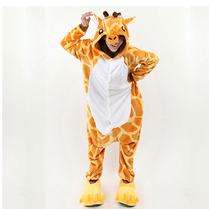 Japan Anime Animal Giraffe Pajamas Onesies Cosplay Animal Halloween Costume Sleepwear Adult Unisex Pajamas Cartoon Pijamas