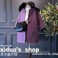Nueva moda sólido abrigo de lana largo invierno para la muchacha 2-8years niños clothing 2017 niños abrigo y chaquetas de lana escudo abrigos