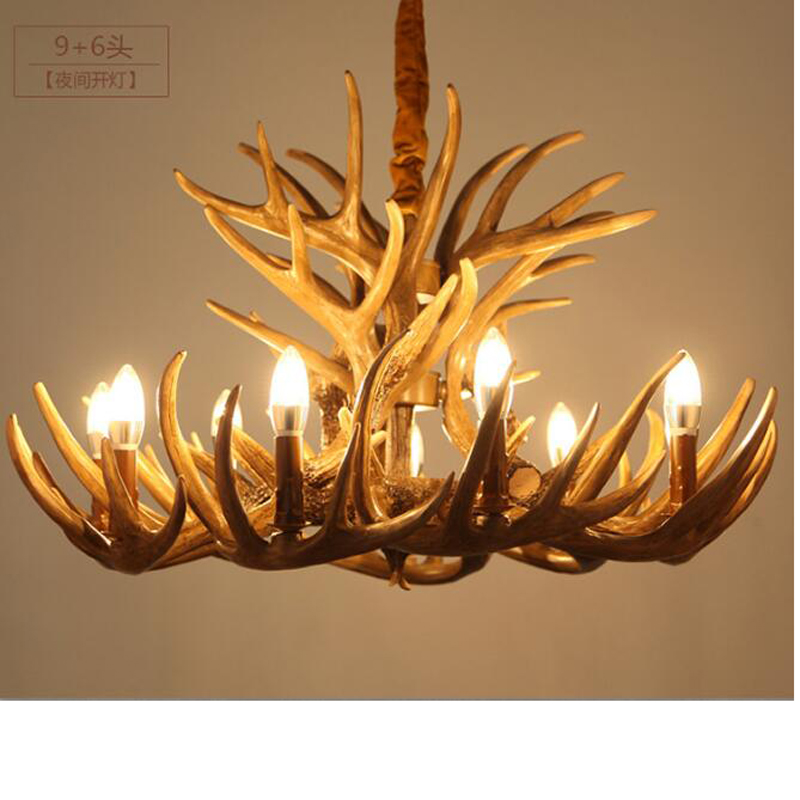 American country creative retro resin chandelier Nordic living room restaurant resin branch candle antler chandelier led lamps